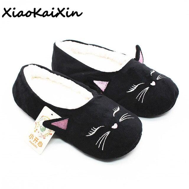c1ec44e55e22 Natural Cotton Ladies Home Slippers Women Winter Animal Style Black Cat  Ballet Yoga Soft Sole Shoes Pregnant Lightweight Flats