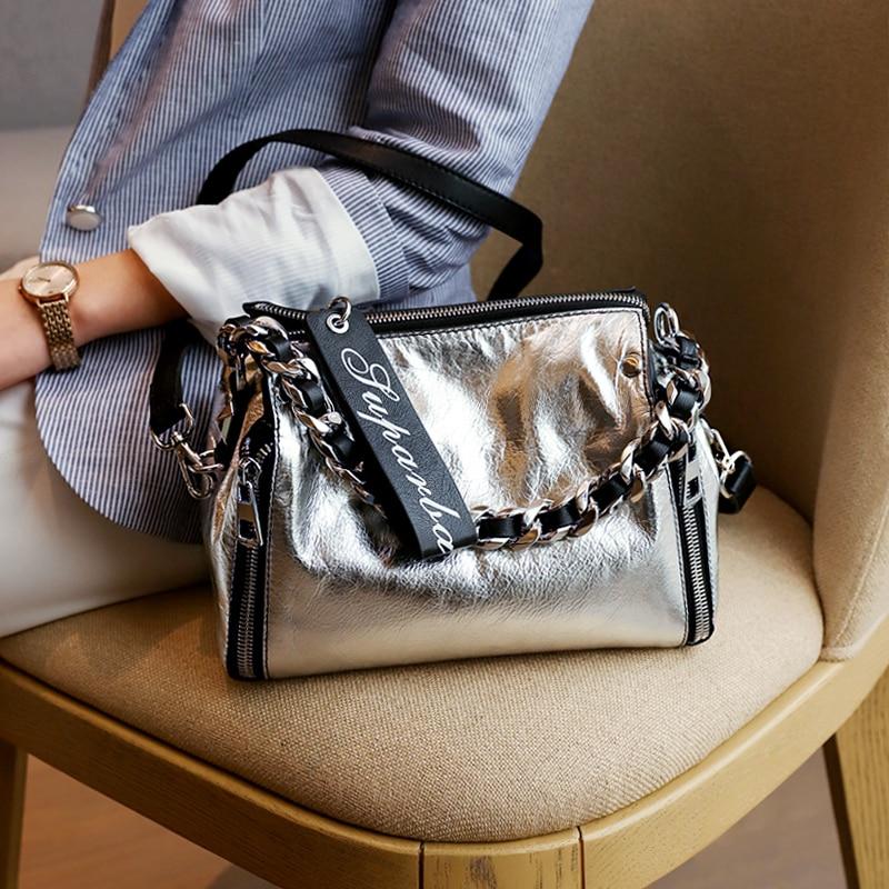 2018 Summer Women Silver Messenger Bag Genuine Leather Handbags Lady Brand Fashion Casual Shoulder Crossbody Bag Sac A Main Tote все цены