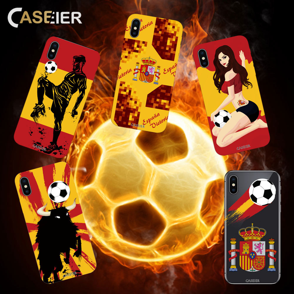 CASEIER Soccer Pattern Phone Cases For iPhone X 6 7 8 Plus 5S Silicone Soft TPU Cover For iPhone X 6 6s Plus Spanish Accessories