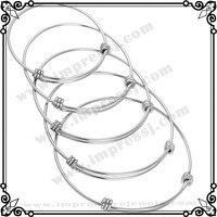 0214 50pcs/lot Cheap bulk wholesale stainless steel Blank Bracelet silver color Expandable Wire Bangle Bracelets for women