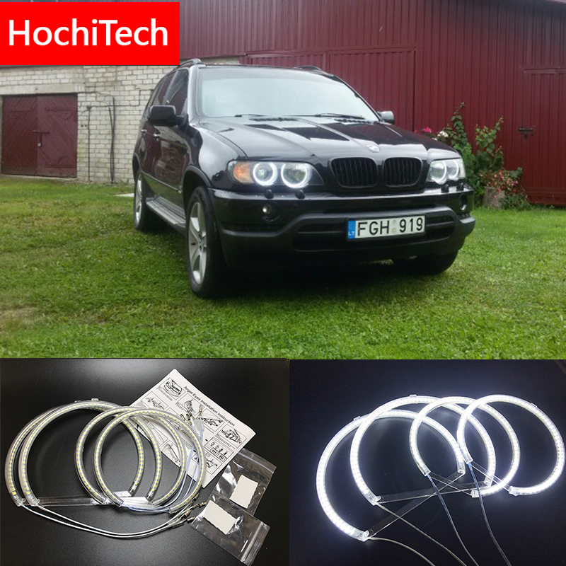 HochiTech for Bmw E53 X5 1999-2004 Ultra bright SMD white LED angel eyes 2600LM 12V halo ring kit daytime running light DRL цена