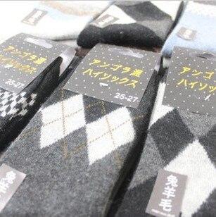 $1 Wholesale 20pcs=10pairs=1 Lot Wool+Cootton+Angora Happy Socks Men Autumn Winter Supernova Sale Argyle Patterned A277