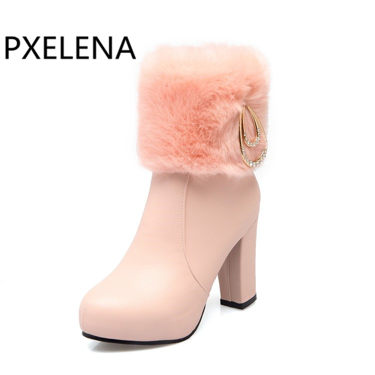 Aliexpress.com   Buy PXELENA Chic Wedding Boots Bride White Pink Black Faux  Rabbit Fur Crystal Thick High Heels Ankle Boots Women 2018 Winter Warm from  ... cabd7f2ae86e