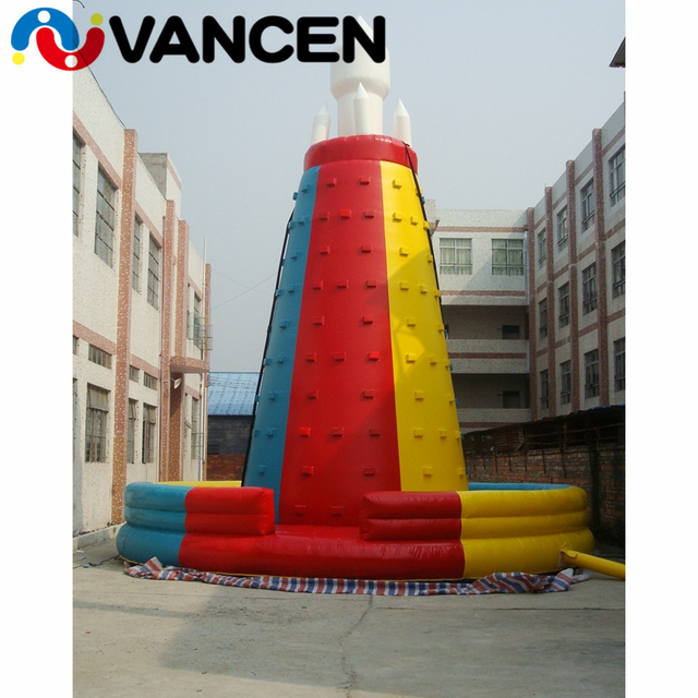Outdoor inflatable games climbing mountain 6mH PVC rock climbing wall sport games inflatable climbing wall with free air blower
