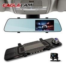 Dash Camera Dual Lens Car DVR 4.3 Inch 1080P Full HD DashCam Rear View Mirror Camera Driving Recording Registrar Parking Monitor