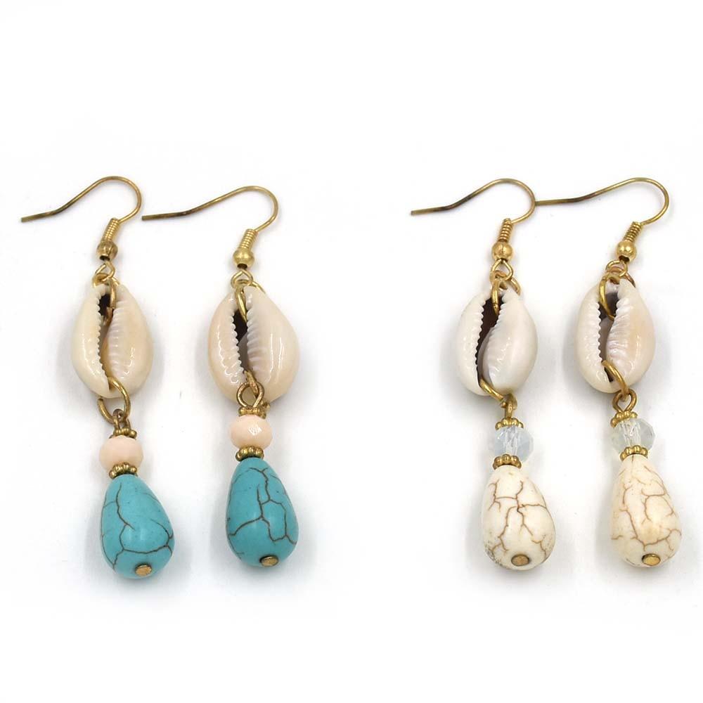 2017 New Handmade Ethnic Dangle Earrings With Stone Charms Summer Sea Beach  Bohemian Cowrie Shell Charm