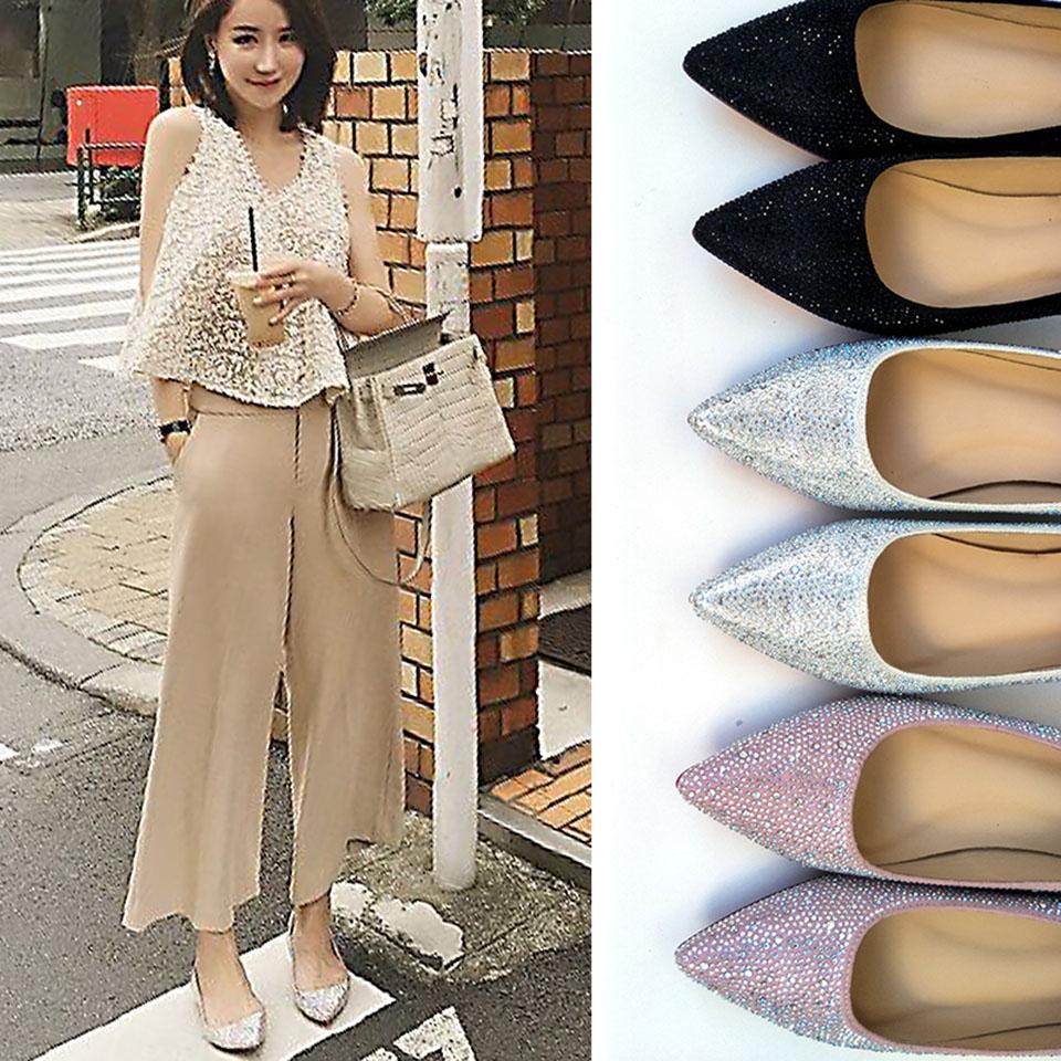 5c44a1436286e Slip On Ladies Flats Beautiful Shoes Celebrity Pink Rhinestone Women ...