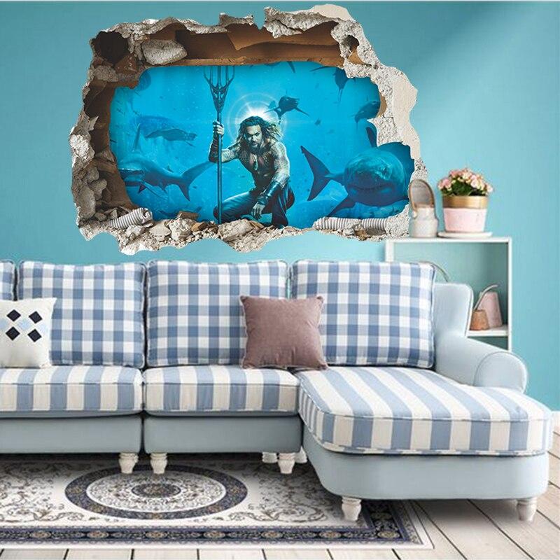 3d Effect Aquaman Breaking Wall Decals Bedroom