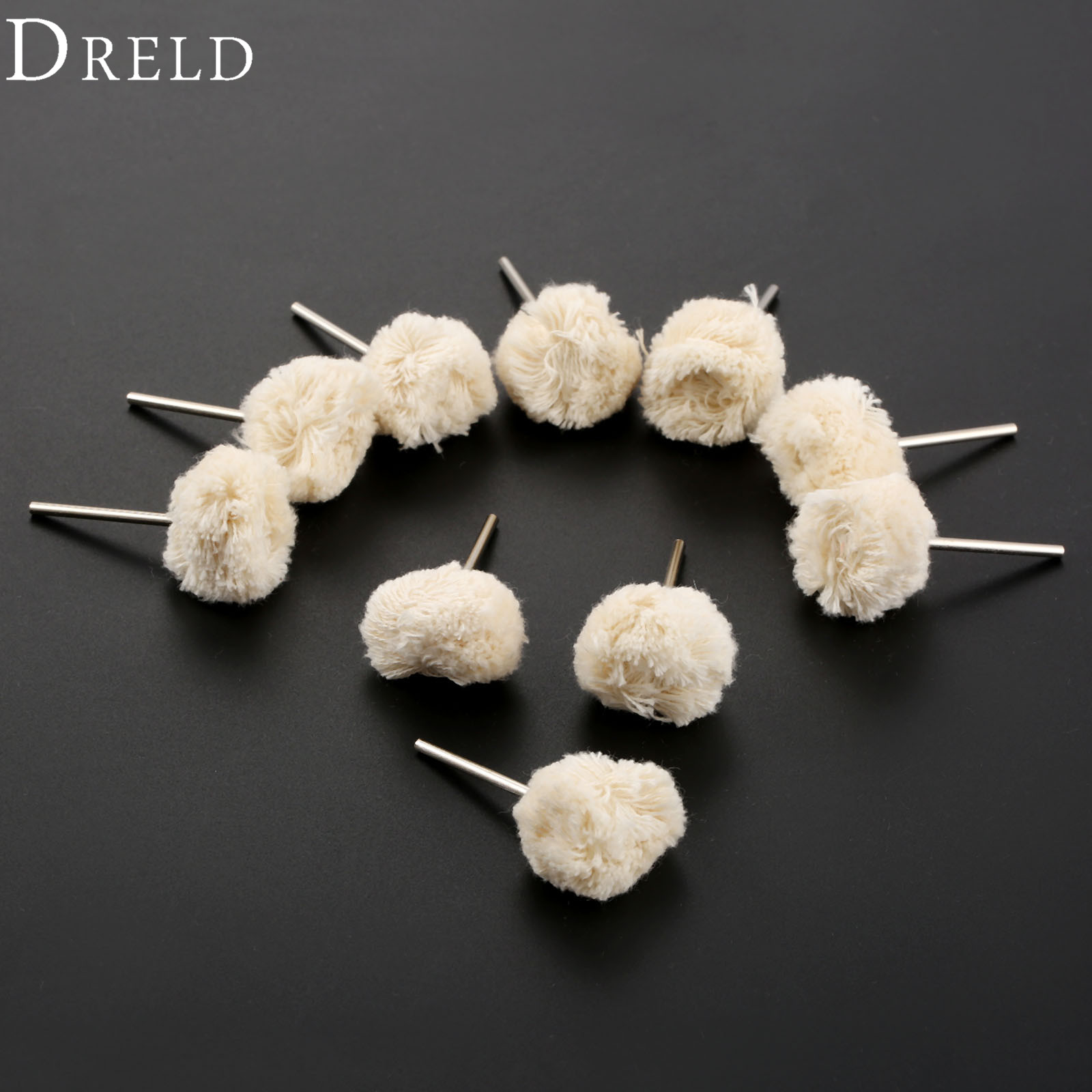 DRELD 10Pcs Dremel Accessories 22mm Wool Polishing Buffing Wheels 2.35mm Shank Jewelry Metals Grinding For Drill Rotary Tools