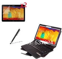 Wireless Bluetooth 3.0 Keyboard Leather Case Cover For Samsung Galaxy Note 10.1 2014 Edition P600 P601 +2* Matte films +Stylus