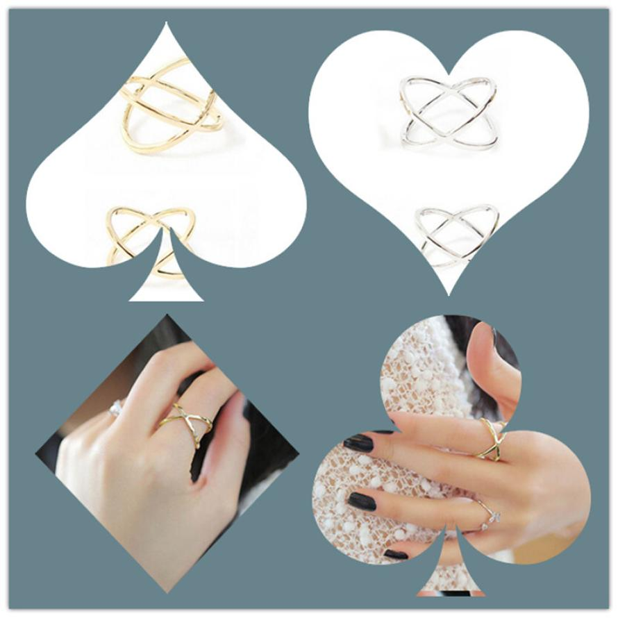 Women Finger X Cross Three-dimensional Hollow Out Alloy Ring JA31