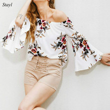 2017 New Women Blouse Chiffon Slash Neck Flare Sleeve Summer Shirt Blusas Elegant Off Shoulder Floral Prints Women Shirts Tops