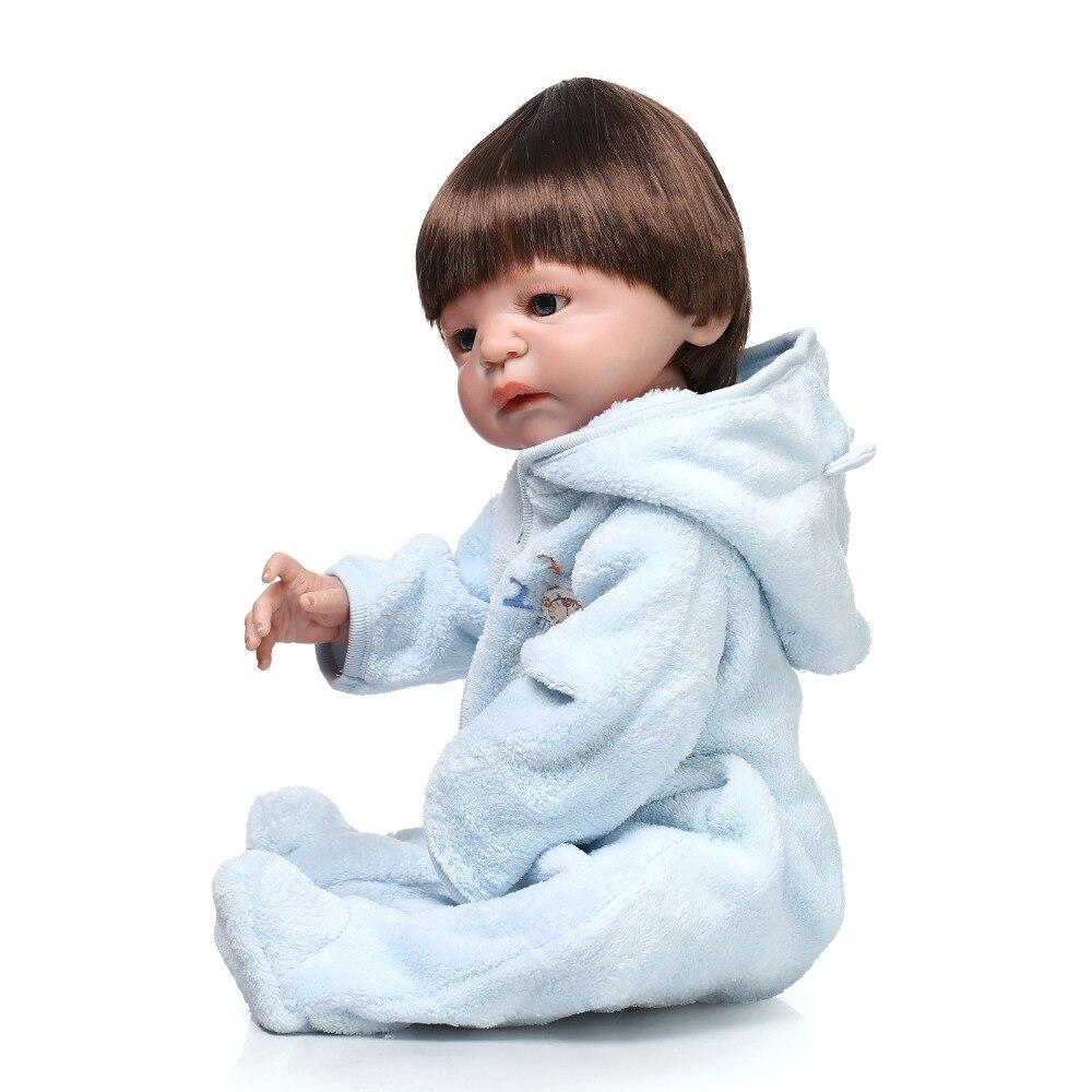 55 CM corps complet silicone reborn bébé poupées garçon sexe enraciné cheveux yeux bleus poupée reborn meilleurs enfants cadeau d'anniversaire