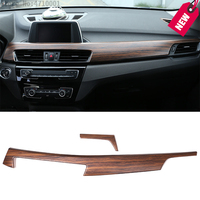 Pine Wood Grain Car Interior Center Console Protection Panel Cover Trim For BMW X1 F48 2016 2018 X2 F47 2018