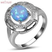 Weinuo Blue Fire Opal Biały Kryształ Pierścień 925 Sterling Silver Top Quality Fancy Biżuteria Wedding Ring Rozmiar 5 6 7 8 9 10 11 A417