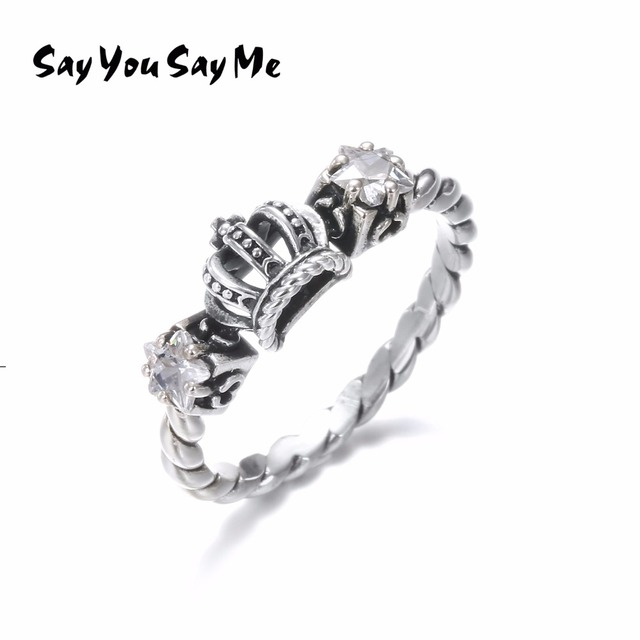 925 Silver White Zircon Rings Say You Say Me Wholesale Silver Crown Rope Rings W