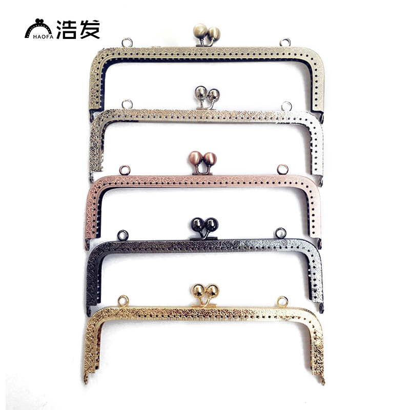 HAOFA 20cm Bag Accessories Large Size Square Metal Embossing Kiss Clasp Purse Frame Metal Clutch Bag Frame  For Bag Sewing Craft