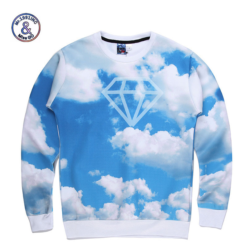 Mr.1991INC New Fashion Men/Womens 3d sweatshirts printing blue sky white clouds diamond space galaxy Hoodies casual tops