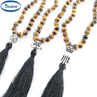 Tiger Eye Stones Antique Silver Mala Buddhist Beaded Necklace Tassel Pendant Handmade Knotted For Men S
