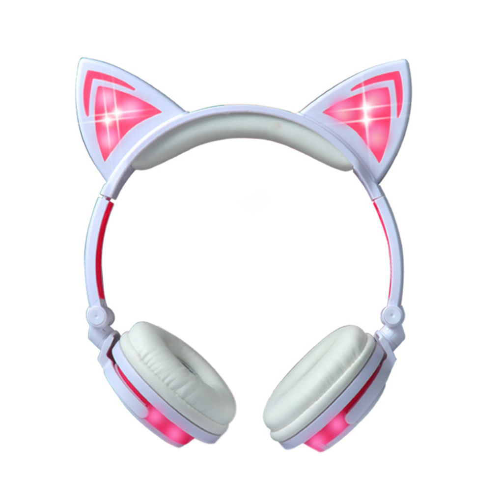 Cat Ear Over Ear Gaming Headsets for Phone Laptop Headphones Earphone Flashing Glowing LED Light