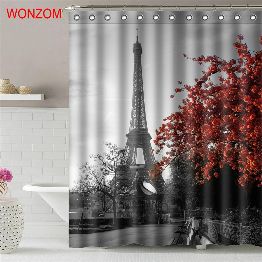 Waterproof Bathroom Shower Curtain with 12 hooks Eiffel Tower and Plum Blossom