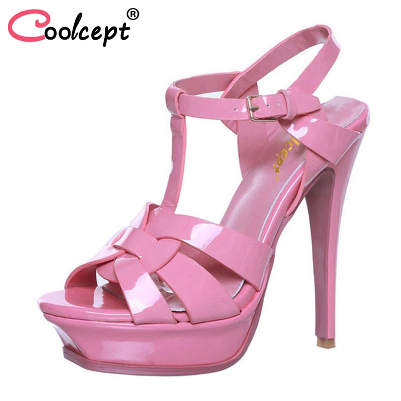 Coolcept T-strap quality genuine leather high heel platform sandals women sexy footwear fashion lady shoes hot sale 33-40 anmairon shallow leisure striped sandals women flats shoes new big size34 43 pu free shipping fashion hot sale platform sandals