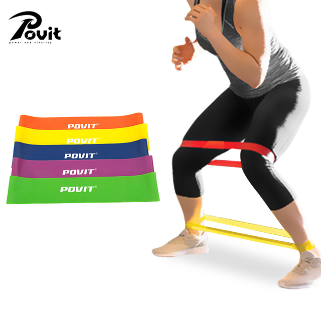 9f30c386e215 POVIT Latex Resistance Band Set 5Levels Elastic Training Bands for Yoga  Pilates Exercise Crossfit Equipment Fitness