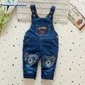 Nueva Primavera Bebé Denim General Bib Nacidos Muchachas de Los Pantalones Vaqueros Pantalones de La Liga Infantil de Dibujos Animados Mono de Los Niños
