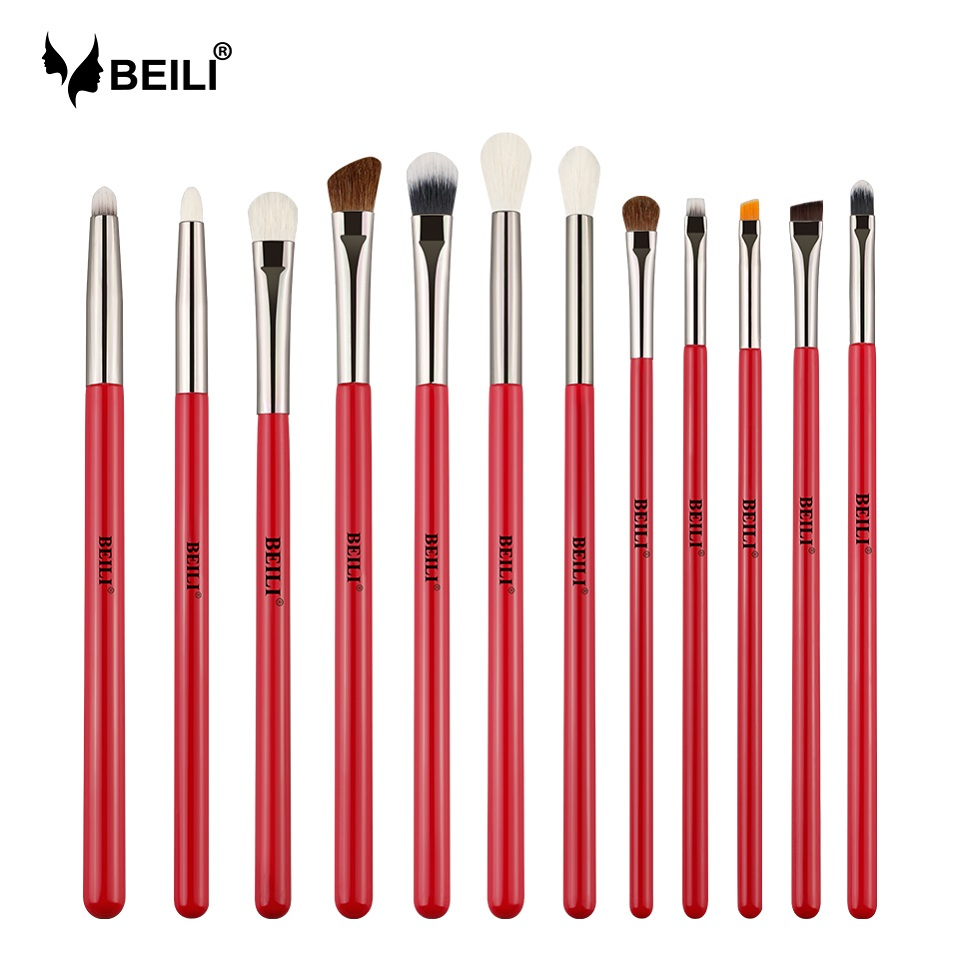 BEILI 12stk. Eye Makeup Brush Set Red Handle Goat Hair Synthetic Pony - Makeup