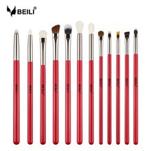 BEILI Professional Red 12PCS Makeup Brushes Natural Hair Foundation Eyebrow brush Eye shadow Lip Brushes Eye Makeup Brush(China)