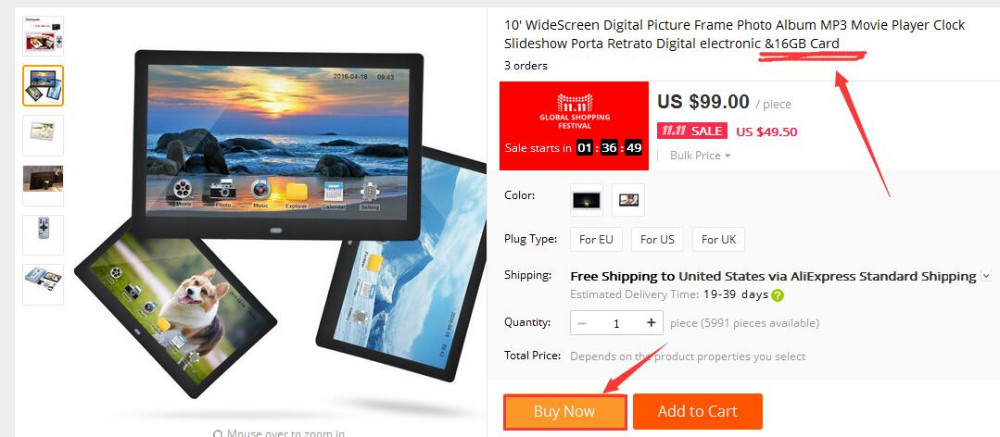 10.1 Inch Digital Photo Frame HD 16:9 Screen with Automatic Play ...