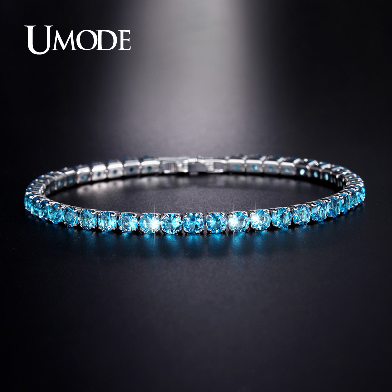UMODE Fashion Charm Tennis Bracelets For Women Men Colorful Zirconia Jewelry Box Chain Braclets Gifts Pulseira Feminina AUB0097 in Chain Link Bracelets from Jewelry Accessories