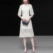 Seifrmann New 2019 Women Spring Summer Dress Runway Fashion Designer Sexy Lace Hollow Out Splice Gorgeous Slim Ladies Dresses