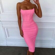 Ocstrade vestido Bandage rosa sin tirantes para mujer, vestido Bandage Sexy para fiesta y Club nocturno de verano 2019