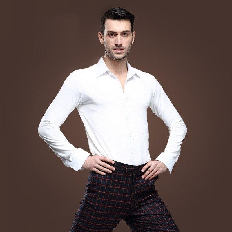 Picture of 2016 New Men Ballroom Dance Tops Red/Black/White Latin Shirt Clothing Modern Dance Cha Cha/Rumba/Samba/Jazz Dance Wear Top