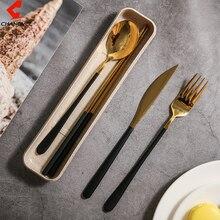 CHANOVEL 4Pcs/set Dinnerware Set 304 Stainless Steel Black Cutlery Set Knife Fork Set Tableware Gold Chopsticks Drop Shipping