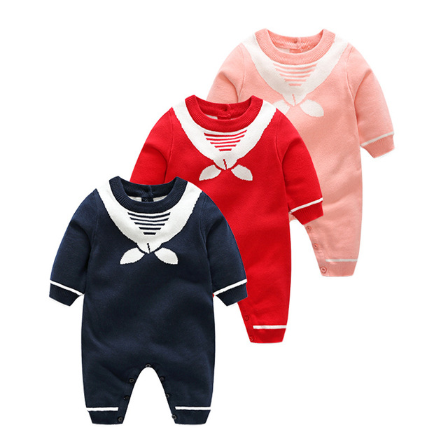7019af0ac Baby Knitted Romper Double Layer Baby Winter Knit Clothes Sailor ...