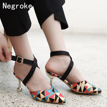 цена на Fashion High Heels Sandals Women Pumps Sexy Geometric Pointed Toe Summer Shoes Woman Thin Heels Office Work Sandalias 2019