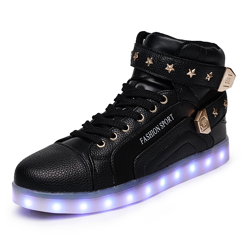 ФОТО 7Colors Luminous Led Light Shoes Men Fashion Star Decoration USB Rechargeable Led Shoes Big Size 35-46 Black Red and White