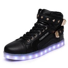 7Colors Luminous Led Light Shoes Men Women Fashion Star Decoration USB Rechargeable Led Shoes Big Size 35-46 Black Red and White