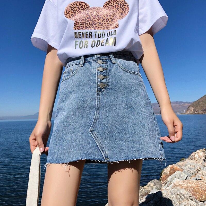 4 Colors High Waist Summer Women Denim Skirt Pockets Sexy Single Breasted Tassel Female Jeans Skirts Pencil Mini Saia Mujer