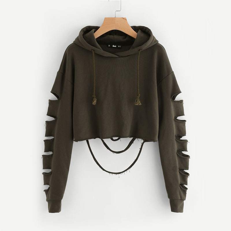Drop Shoulder Hollow Out Sleeve Crop Hoodie For Women