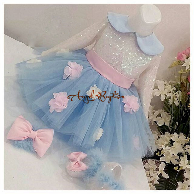 Sky blue girl Long Sleeves Bling sequins Flower Girl Dresses knee-length Baby 1 year old Birthday Ball Gown outfit With Bow vintage emerald green backless flower girl dress with golden sequins knee length short baby 1 year birthday gowns with big bow