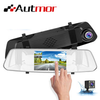 5inch Car Dash Cam Touch Screen Car Dual Cam Dash Car Rearview Mirror DVR 1080p / 720p 16GB 128GB