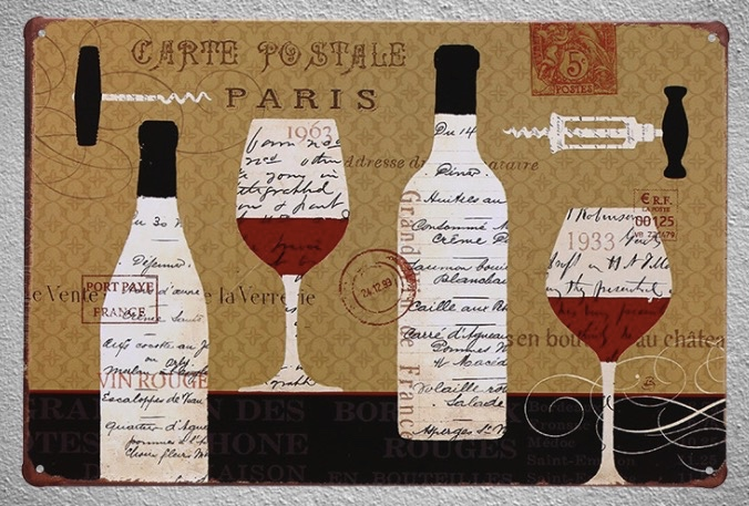 1pc french paris Wine bottle glass white red drink bar Tin Plate Sign wall man cave Decoration Man cave Art Poster metal vintage