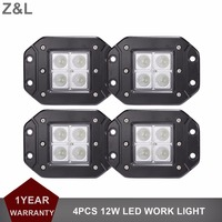 For Jeep Ford Toyota 12W Offroad LED Work Light Bar Flush Mount Spot Flood Car Truck