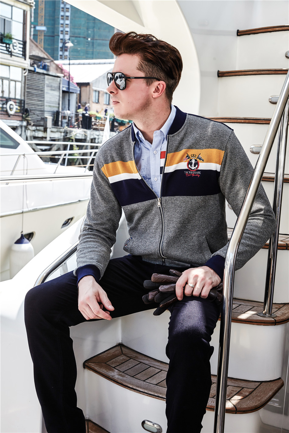 Pulls hommes 2017 hommes chandail slim patchwork Tace & requin hommes chandail marque décontracté milliardaire col montant à manches longues