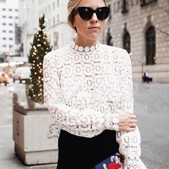 Elegant Floral Lace Blouse Shirt Women Lantern Sleeve White Blouse