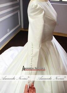 Image 4 - Vestido de novia sencillo de mangas largas de satén, nuevo Modelo 2020
