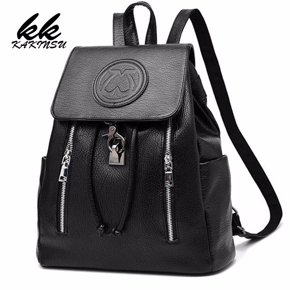 KAKINSU Fashion Leather Backpack Women Bags Preppy Style Backpack Girls School Bags Zipper Shoulder Women's Back Pack nawo fashion genuine leather backpack rivet women bags preppy style backpack girls school bags zipper large women s backpack sac